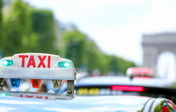 Parisian taxi in the city royalty free stock photos