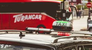 Parisian taxi panel waiting in the traffic stock photography