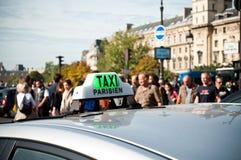 Parisian taxi stock photo