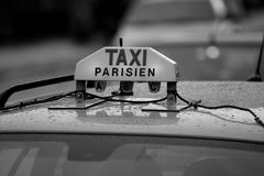 Parisian taxi on the streets of the city. Stock Photography