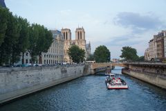 Parisian view sight, the Seine, the bridges - France stock photography