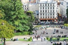 Parisians and tourists on Montmartre. Paris. Stock Photography