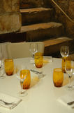 Parisien restaurant table. A restaurant table and interior in Paris, France Stock Photography