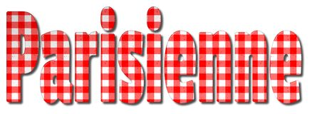 Parisienne Gingham Word. Parisienne red and white gingham patterned 3D illustration word with a bevel effect on an isolated white background vector illustration