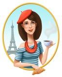 Parisienne med koppen kaffe och gifflet på en bakgrund av Eiffeltorn royaltyfri illustrationer