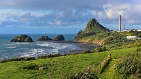 Paritutu Rock and nearby rock islands in New Plymouth stock photo