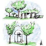 Parków nakreślenia Zdjęcia Royalty Free