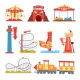 Parków rozrywki elementy ustawiają, funfair przyciągania kreskówki wektoru kolorowe ilustracje royalty ilustracja