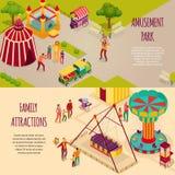 Parków Rozrywkich Isometric sztandary ilustracji