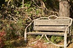 7 Park är en dekorativ bänk royaltyfria foton