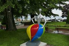 Park in Évian-les-Bains. Interesting statues in park at Évian-les-Bains stock photos