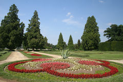 Park. With ornamental trees and flowers royalty free stock image