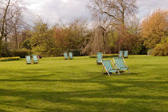 The park. Lots of deckchairs in the park Stock Images