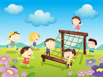 At the park. Illustration of kids playing at the park Stock Photos