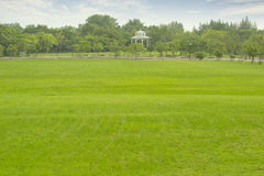 Park. Pavilion in the park with green grass Royalty Free Stock Image