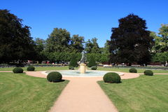 Park. Nice park with fountain and statue in middle Royalty Free Stock Image