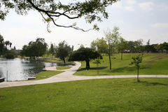 Park. La mirada water tree path spring Stock Photos