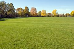 Park. Green grass and colorful trees in one of Toronto park Stock Images