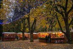 The park of Acqua Santa with the Christmas market in Chianciano Terme at winter time Royalty Free Stock Images