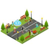 Park Activity in City Isometric View. Vector. Park Activity in City Recreational Scene for Summer Leisure People and Sports Isometric View Element Map or Game Royalty Free Stock Photography