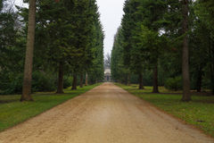 Park alley Charlottenburg Palace in rainy weather Stock Photos