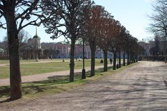 The park alley in the Kuskovo manor royalty free stock images
