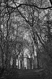 Empty and scary park alley during late fall - black and white. Park alley during late fall. Almost naked trees on the sides, leaves on the ground and the houses Stock Photos