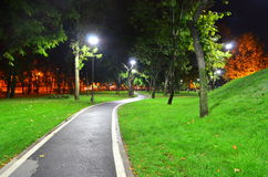Park alley - night time. Image of an empty park alley in the night time under pole lights Royalty Free Stock Photography