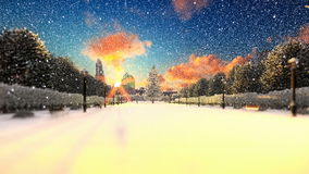 Park alley in winter, holidays background stock video