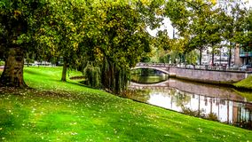 Park Along The Shore Of The Stadsgracht In The Historic Hanseatic City Of Zwolle Royalty Free Stock Image
