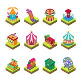 Park amusement attraction park with carousels kid outdoor entertainment construction vector illustration isometric game. 3d style isolated Royalty Free Stock Image