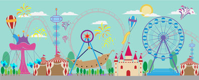 Park, amusement, vector, carnival, fair, roller, tent, fun, circ Stock Images