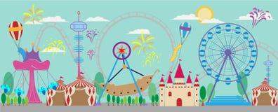Park, amusement, vector, carnival, fair, roller, tent, fun, circ Stock Images