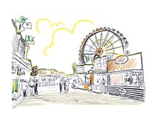 Park amusement vector sketch illustration line art vector illustration