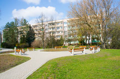 Park by apartments block Stock Photos