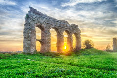 Park of the Aqueducts at Sunset, Rome Stock Photo