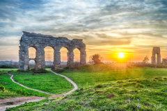Park of the Aqueducts at Sunset, Rome Royalty Free Stock Image