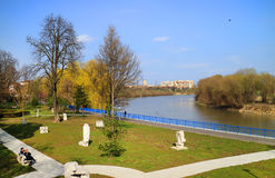 Park of Arad, Mures Valley, Romania. The promenade of Mures river in Arad town, Romania, Europe Royalty Free Stock Photos