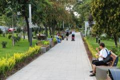 Park in Arad, Romania. ARAD, ROMANIA - AUGUST 13: People visit city park on August 13, 2012 in Arad, Romania. Arad is the capital city of Arad County and 12th Royalty Free Stock Photos