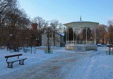 Park arbor. Arbour with park Petrifying springs in Lodz in winter scenery Royalty Free Stock Image