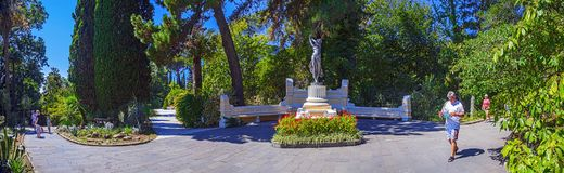 RUSSIA, SOCHI, AUGUST 30, 2015: Panoramic view with sculpture `Dancer` in the Arboretum, Sochi, Russia, August 30, 2015. Stock Photos