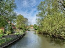 Park area in central medieval city Ribe, in Denmark stock images