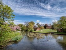 Park area in central medieval city Ribe, in Denmark royalty free stock photos