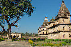 Park around buildings with stone domes in indian Orchha. Cenotaph was built in 17th century in India Royalty Free Stock Image