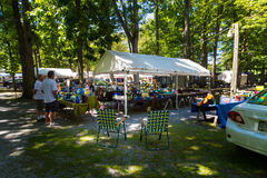 Park Atmosphere at Antique Sale. Reamstown, PA - August 7, 2016: Antiques and other collectables offered for sale weekly by dealers at Shupp's Grove Stock Photo