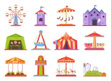 Park of Attractions Collection Vector Illustration. Park of attractions, collection of icons of ferris wheel, ticket tent, haunted house with ghosts, circus and Stock Photos