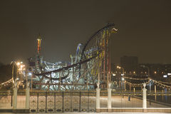 Park of attractions in the night Royalty Free Stock Photography