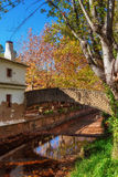 Park in the autumn in Alte in Loule. Bridge over river. Stock Photography