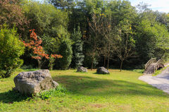 Park with autumn colors in Guriezo, Cantabria, Spain. Royalty Free Stock Images
