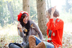 Park autumn fall girls Royalty Free Stock Image